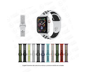 PULSEIRA SILICONE APPLE WATCH 42/44MM CORES FURADA CORES
