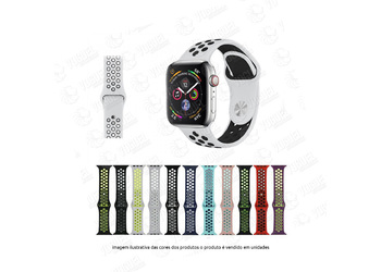 PULSEIRA SILICONE APPLE WATCH 38-40MM CORES FURADA